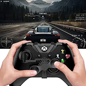 Xbox One Mini Steering Wheel (2021 Upgrade), Xbox One X & Xbox One S Controller Add-on Replacement Accessories for All Xbox Racing Game - Black