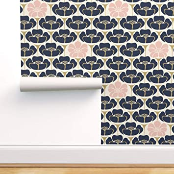 Spoonflower Peel And Stick Removable Wallpaper 1920s Floral Art Deco Black Blush Cream Flowers Navy Indigo Gold Print Self Adhesive Wallpaper 24in X 36in Roll Amazon Com