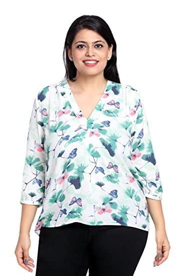 91d4c24c793 The Pink Moon Women s Plus Size Top Green  Amazon.in  Clothing ...