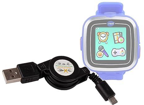 Duragadget Câble rétractable micro USB de synchronisation et transfert de données pour montre connectée Vtech Kidizoom Smart Watch et Smart Watch Plus: ...