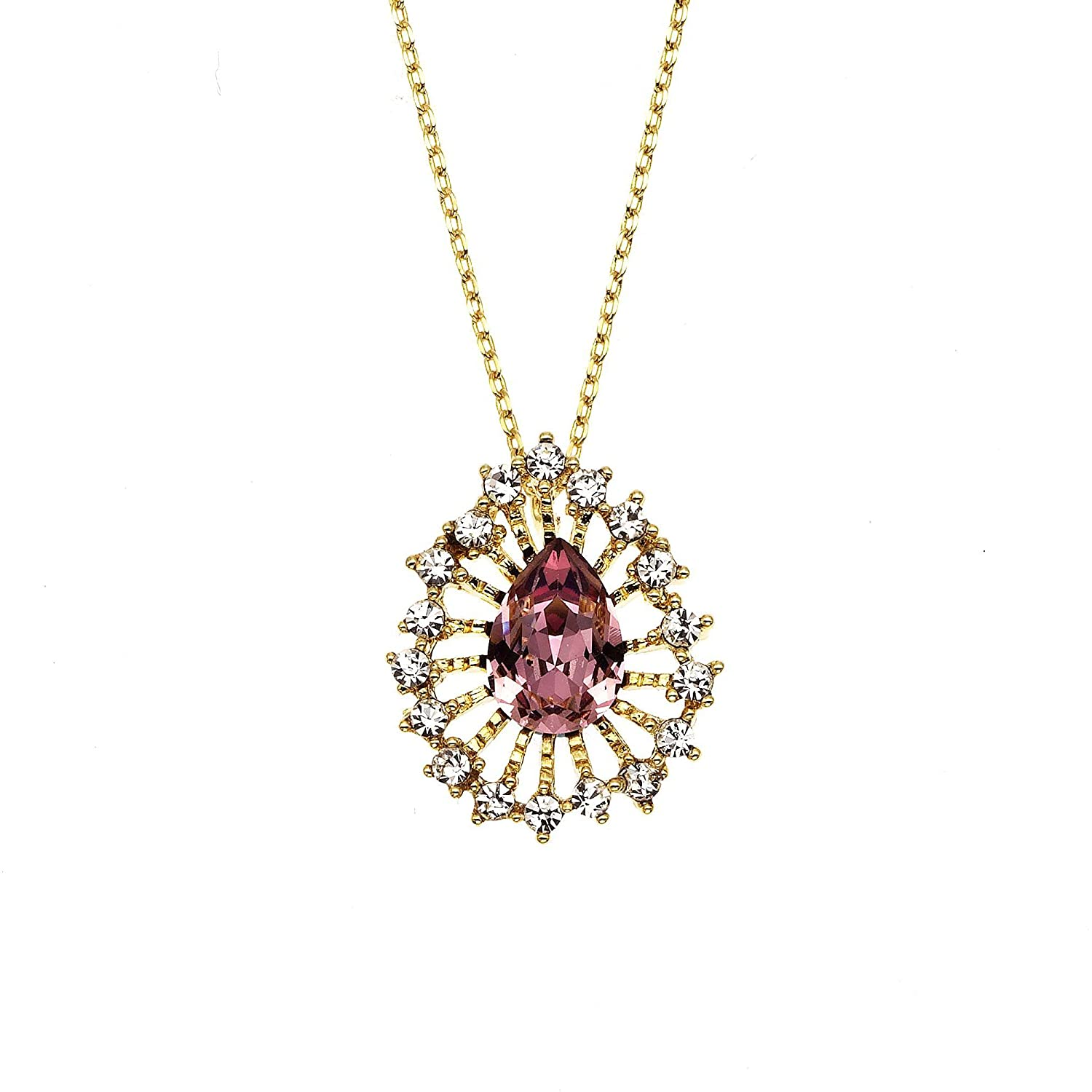 1940s Costume Jewelry: Necklaces, Earrings, Brooch, Bracelets Collection Bijoux 14K Gold Plated Sunburst Necklace with Antique Pink Swarovski Stone $15.99 AT vintagedancer.com