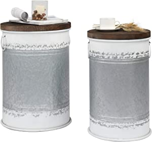VINGLI Farmhouse Storage Bins Ottoman Stool, Rustic Galvanized Metal décor End Table Nightstand with Wooden Lid Decoration for Living Room Furniture ,Set of Two ( Light Grey)