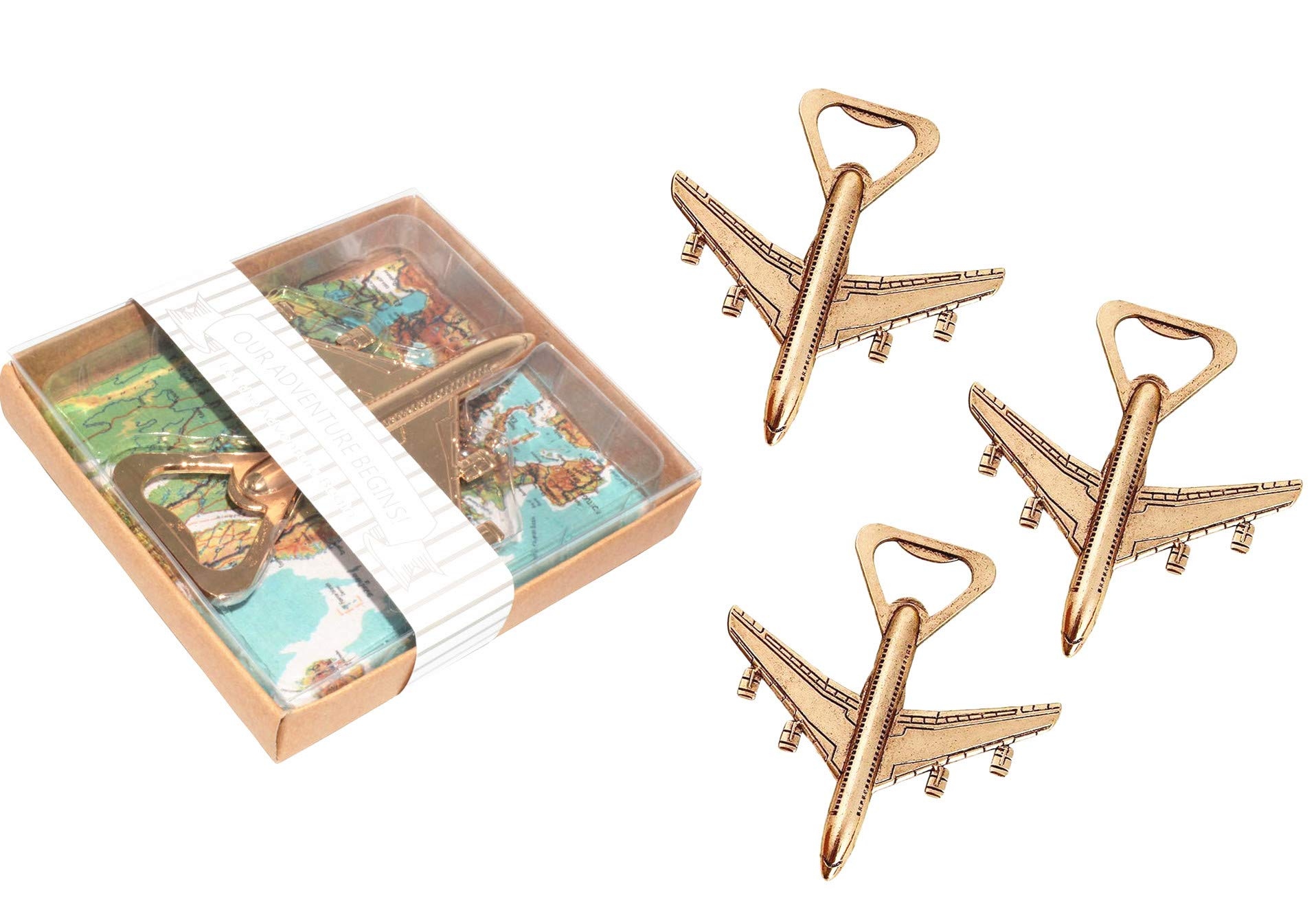 Pack of 24 Airplane Bottle Opener with Gift Box Baby Shower Return Gifts for Guest Air Plane Travel Beer Bottle Opener Party Favor Wedding Birthday Decorations (24pcs with Gift Box) by Yansanido