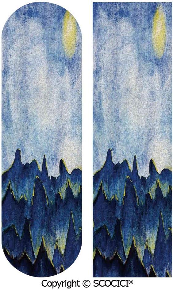 "UHOO Skateboard Griptape,Hills Under Fairy Cloudy Sky with The Reflection of Moon Vivid 9"" x 33"", 23cm x 84cm,1 pcs, Waterproof Grip Tape Sheet, Sandpaper for Skateboard, Longboard, Scooter 71eenxSiYiL"