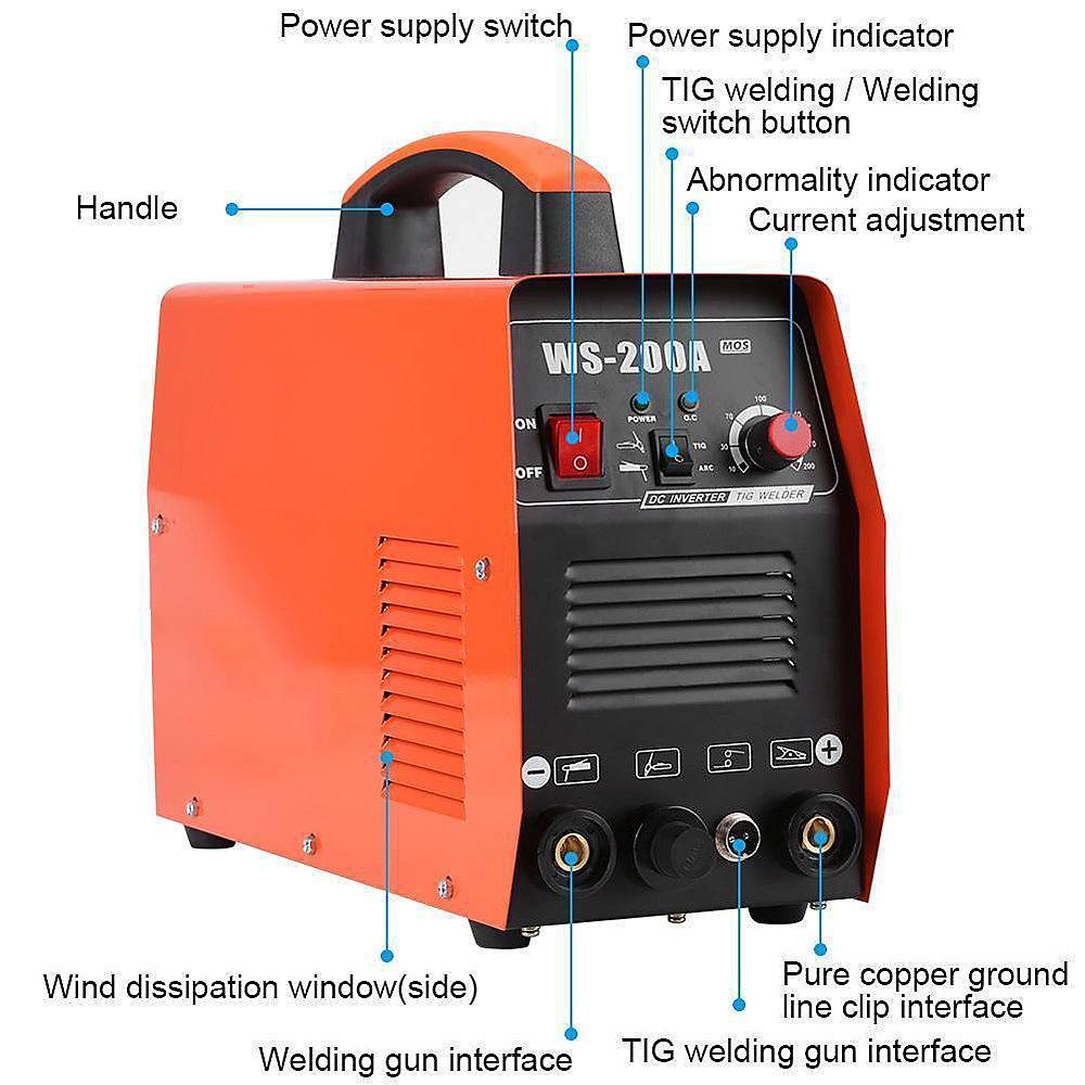 200A TIG/ARC Máquina de Soldadura - Soldador Portátil de Pulso Digital de Alta Frecuencia, 220 V D/C Tig Stick IGBT Soldador Inverter Alambre Núcleo de ...
