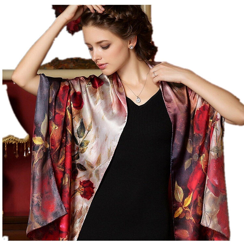AUTUMN VINTAGE/FASHION ROSES FLOWER LARGE 100% WOMEN SILK SCARF SHAWL