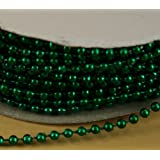 3mm Faux Pearl Plastic Beads on a String Craft Roll Metallic Green