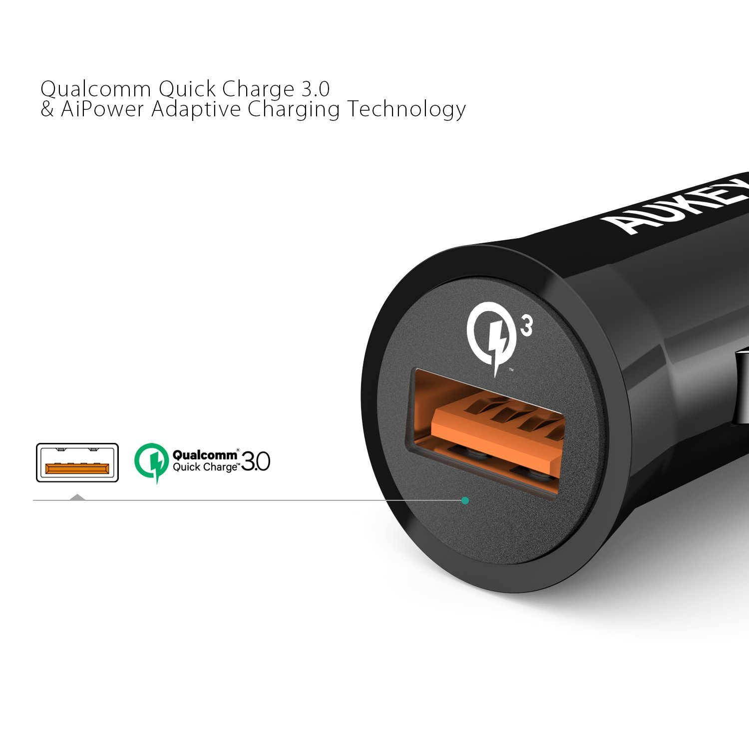 Aukey Quick Charge 3.0 - Cargador de Coche (19.5 w) Color Negro
