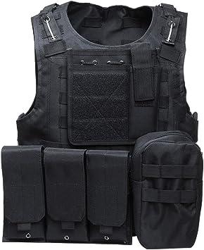 Homyl Unisex Outdoor Jagd Angler Weste mit 4 Praktischen Taschen Schwarz