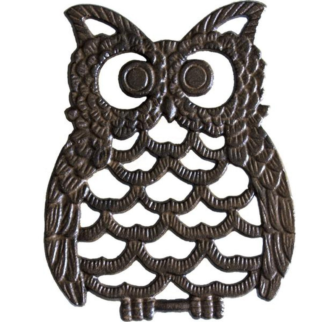 """Cast Iron Owl Trivet - Decorative Trivet For Kitchen Counter or Dining Table Vintage, Rustic, Artisan Design - 7.75X6"""" - With Rubber Pegs/Feet - Recycled Metal"""
