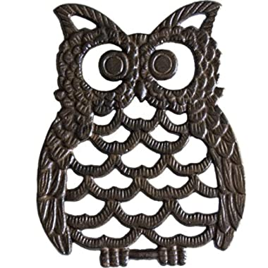 Cast Iron Owl Trivet - Decorative Trivet For Kitchen Counter or Dining Table Vintage, Rustic, Artisan Design - 7.75X6  - With Rubber Pegs/Feet - Recycled Metal, Rust Brown Finish - by Comfify