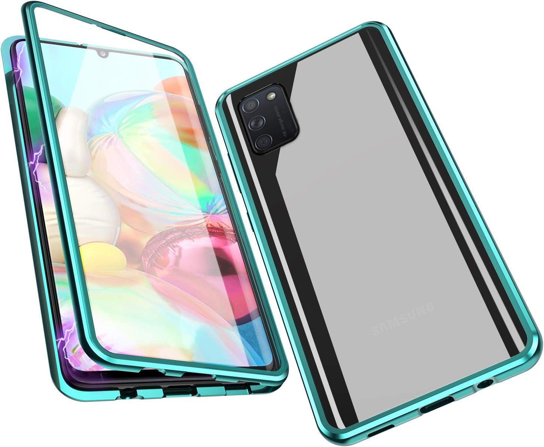 Adsorci/ón Magn/ética Parachoques de Metal con 360 Grados Protecci/ón Case Cover Transparente Ambos Lados Vidrio Templado Cubierta para Samsung A41 Azul Jonwelsy Funda para Samsung Galaxy A41