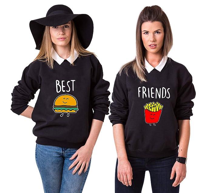 3738fdd12f75f6 Best Friends Pullover für Zwei Mädchen Sister Freunde Hoodie Set für 2 Damen  Kapuzenpullover Sweatshirt Pulli