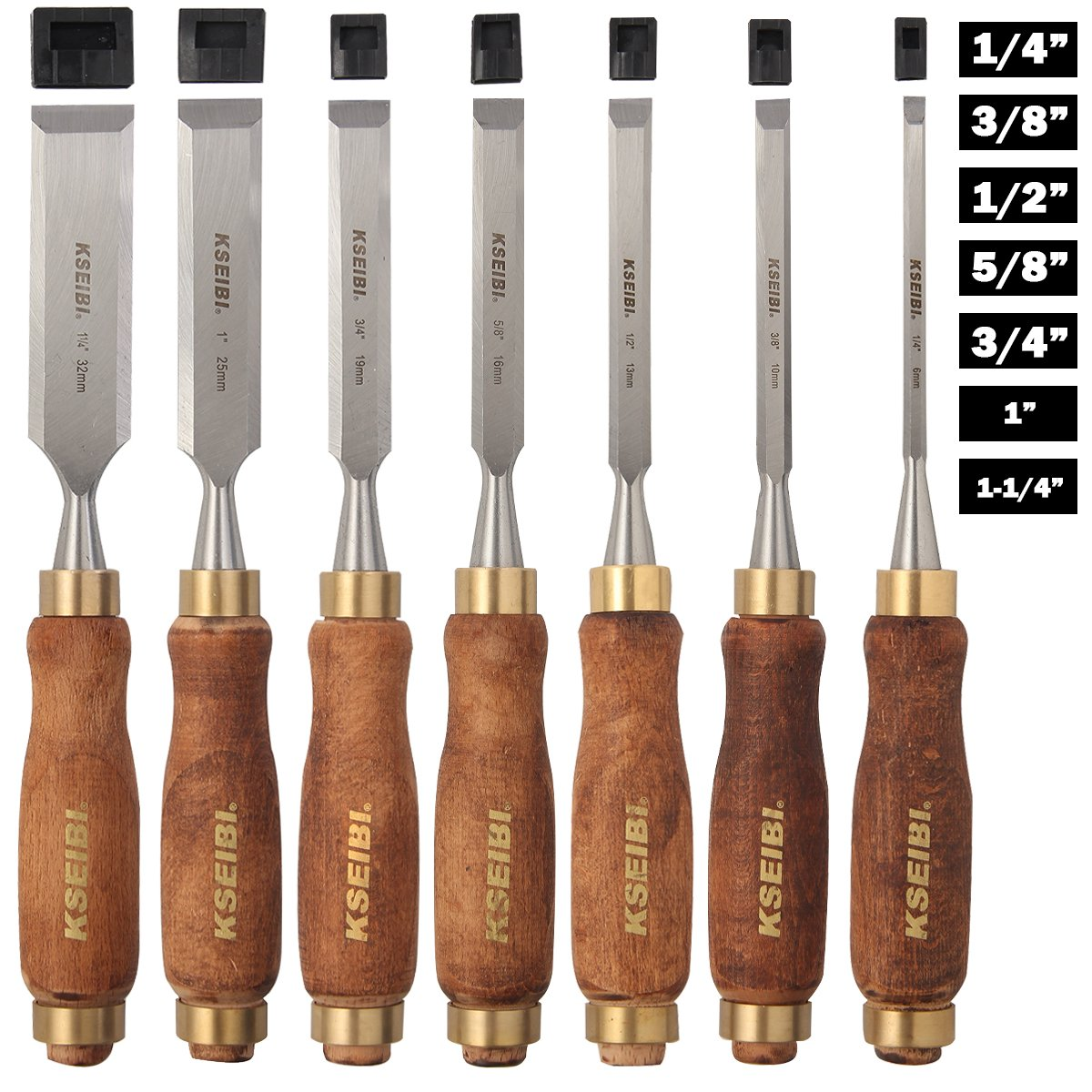 Premium Grade 7 Piece Wood Chisel Set, Woodworking Chisels with Wooden Handles for Carving by KSEIBI