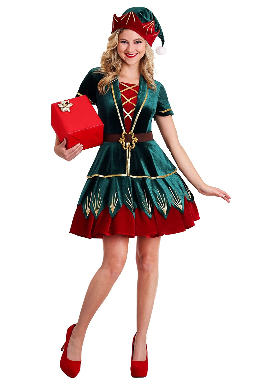 Women's Deluxe Holiday Elf Fancy Dress Costume Small