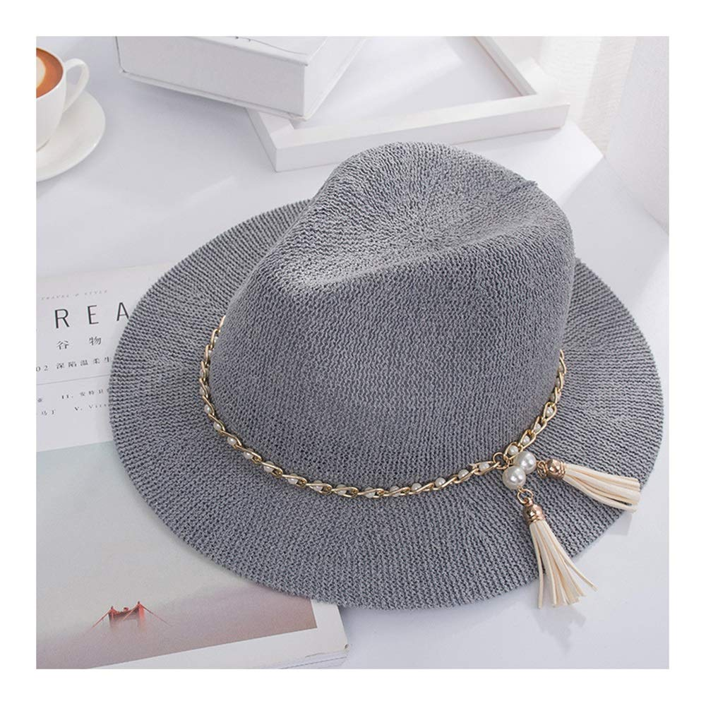 Nwn Black England Hat Female Spring and Autumn Pearl Fashion Travel Small Hat Summer Korean Version of The Tide Wild Shade Jazz Hat (Color : B)