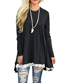d521c68e8fc00 Women s Lace Long Sleeve Scoop Neck Tunic Tops Blouse Shirts for Leggings
