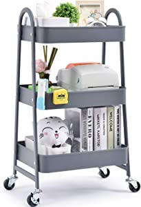 TOOLF 3-Tier Utility Rolling Cart, Serving Cart with Large Storage and Metal Wheels, Trolley Organizer for Office, Kitchen, Bedroom, Bathroom, Salon, Grey 130839