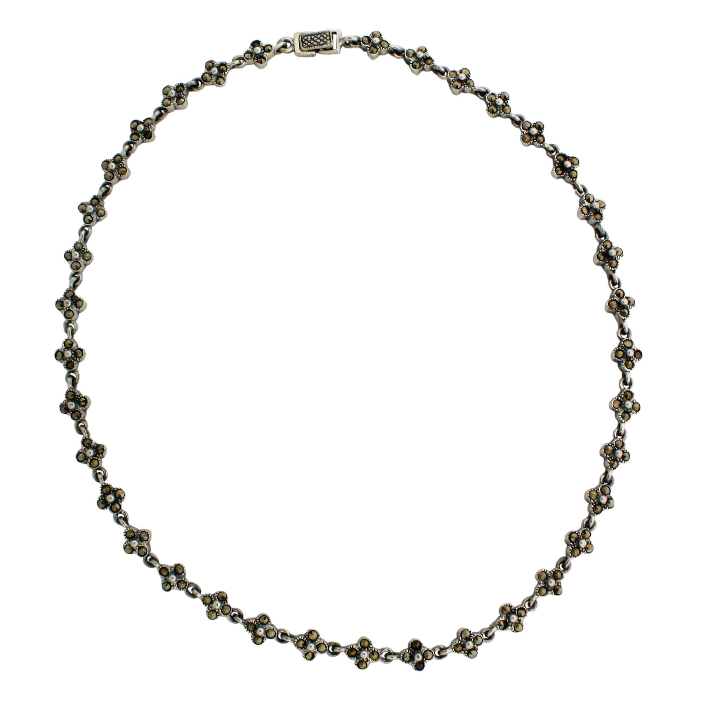 Sterling Silver and Flower design Marcasite 16 1/4'' Necklace.