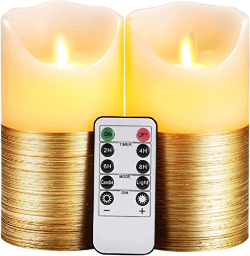 Flameless Candles LED Candles Set of 2 D3.25 x H6 Ivory Real Wax Gold Trim Pillar Battery Operated Candles with Dancing LED Flame 10-Key Remote and Cycling 24 Hours Timer