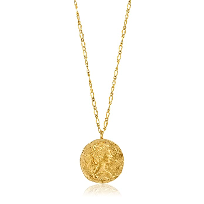 42b8ffc581415b Amazon.com: 925 Sterling Silver Long Statement Hammered Roman Coin Pendant  Necklace for Women, 14K Yellow Gold: Jewelry