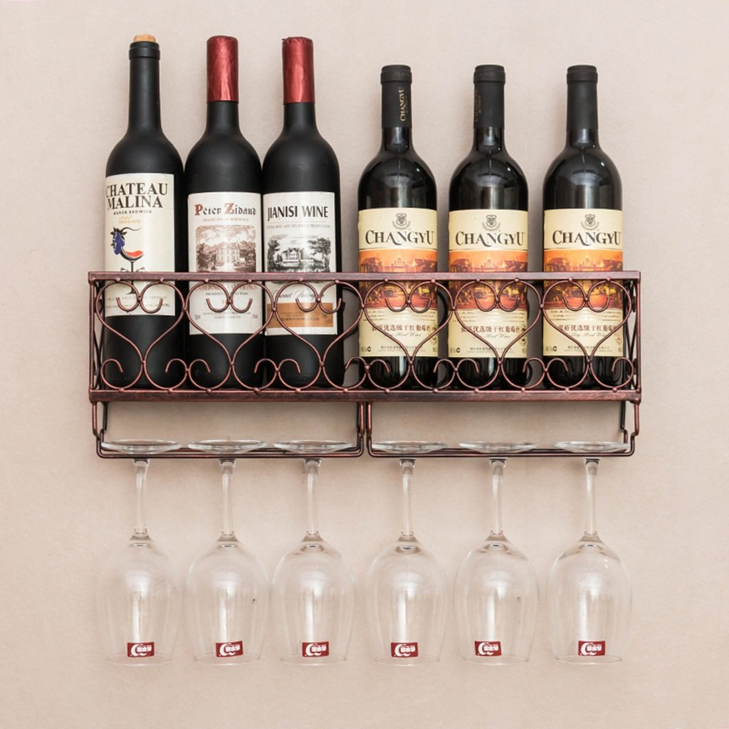 TLMY Creative Wine Rack Hanging Glass Holder Hanging Wine Rack Inverted Cup Holder Wine rack (Color : Red bronze, Size : 501017cm)