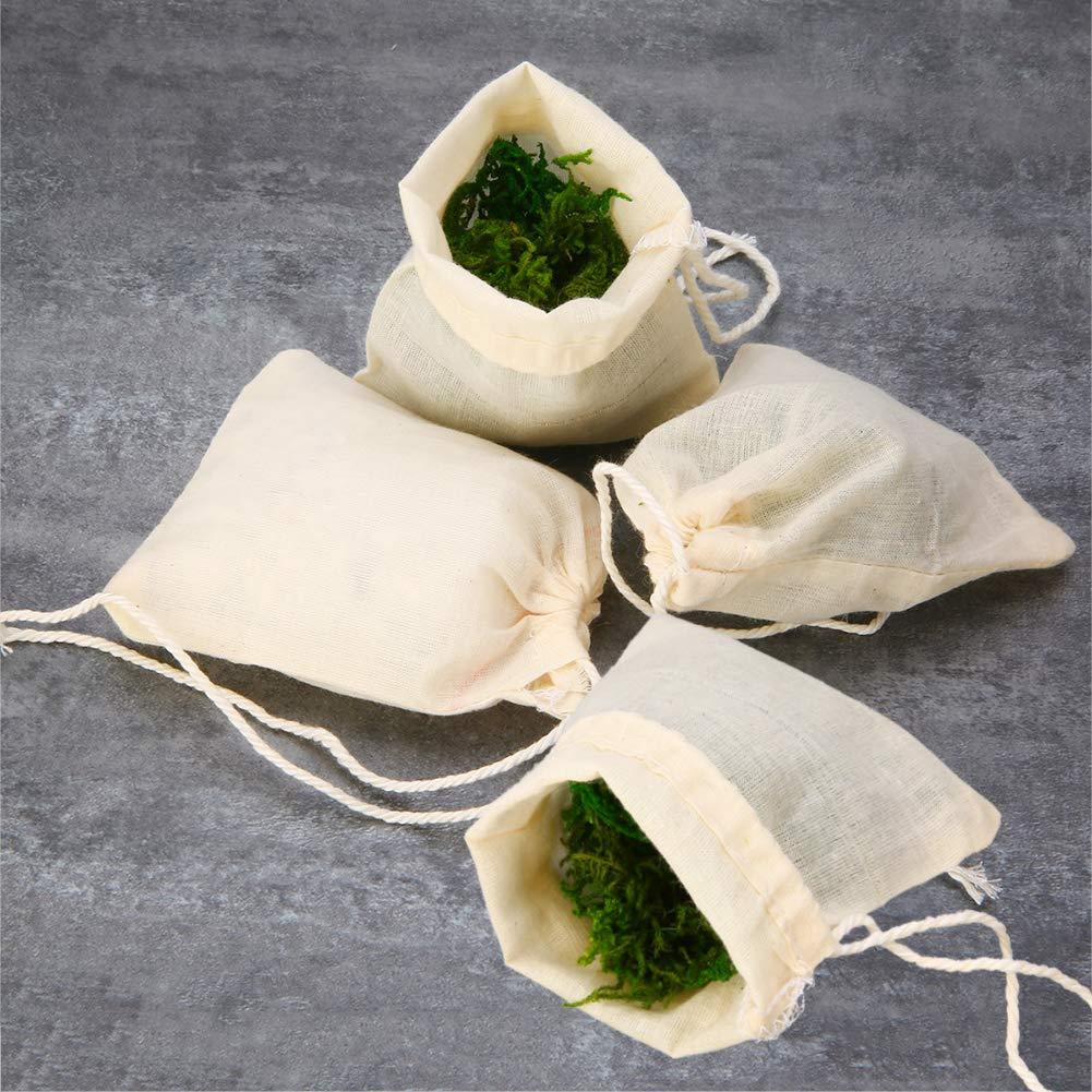 especias Bolsas de muselina de algod/ón con cord/ón hierbas 50 bolsas de filtro de t/é reutilizables jab/ón y regalos de joyer/ía bolsa de malla para t/é suelto