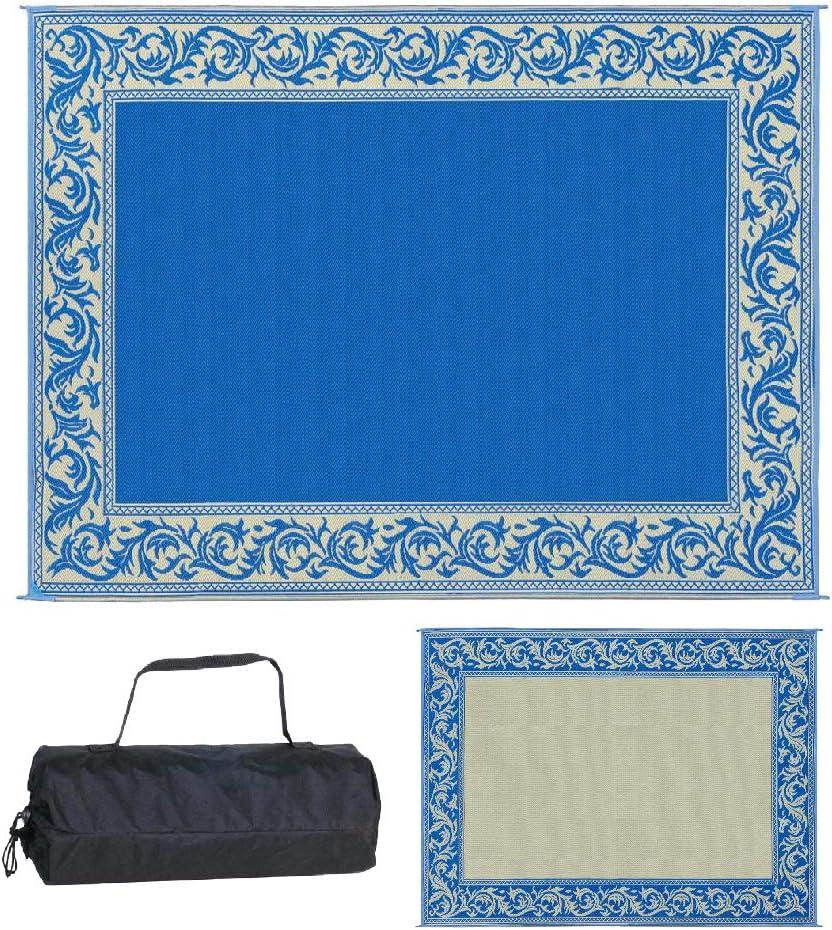 Stylish Camping RA3 Blue/Beige 9-Feet x 12-Feet Classical Mat