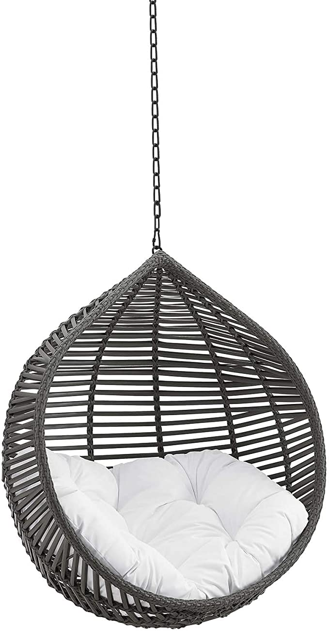 Modway Eei 3637 Gry Whi Garner Teardrop Outdoor Patio Swing Chair Without Stand Gray White Garden Outdoor