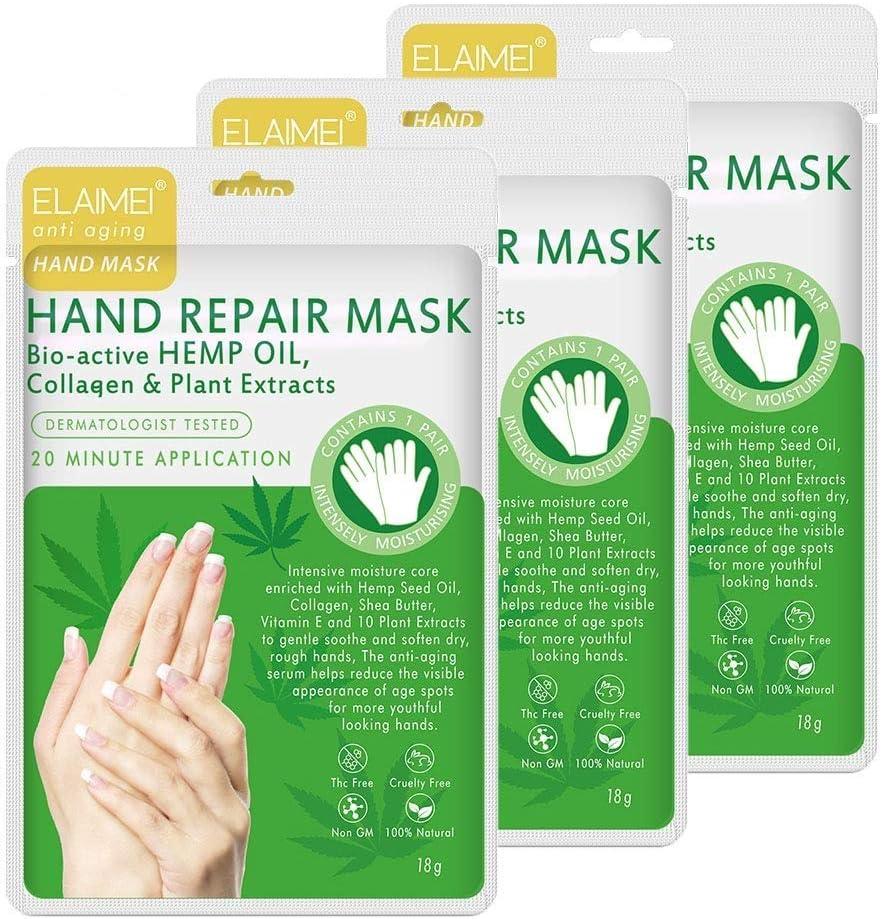 3 Pares De guantes Hidratantes Para Manos, Mascarilla Renovadora Para La Reparación De La Piel De Las Manos, Mascarilla Spa Para Manos Secas