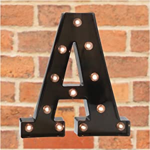 Pooqla Marquee Letters with Lights - Light Up Black LED Letter Sign for BAR Pub Home Party Wedding Decoration