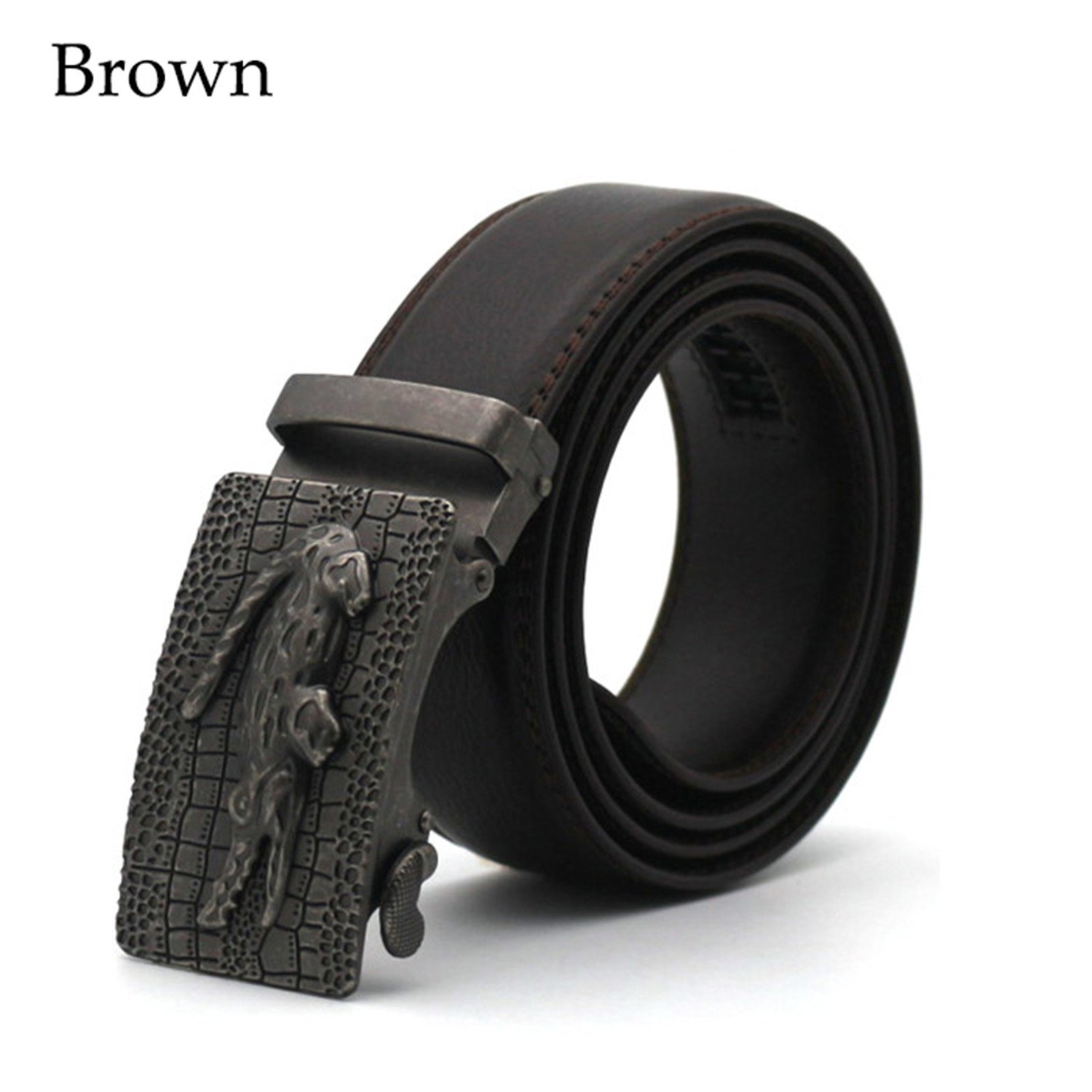 Amazon.com  Miki Da Luxury Business Casual Belt Man Black Brown Genuine  Leather Belts For Jeans Automatic Buckle Strap Belt Cintos brown 110cm   Clothing ff43d170342