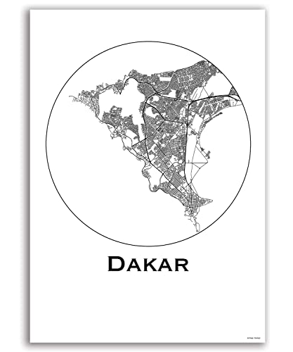 Cartel Dakar Senegal Minimalista Mapa - City Map, decoración ...