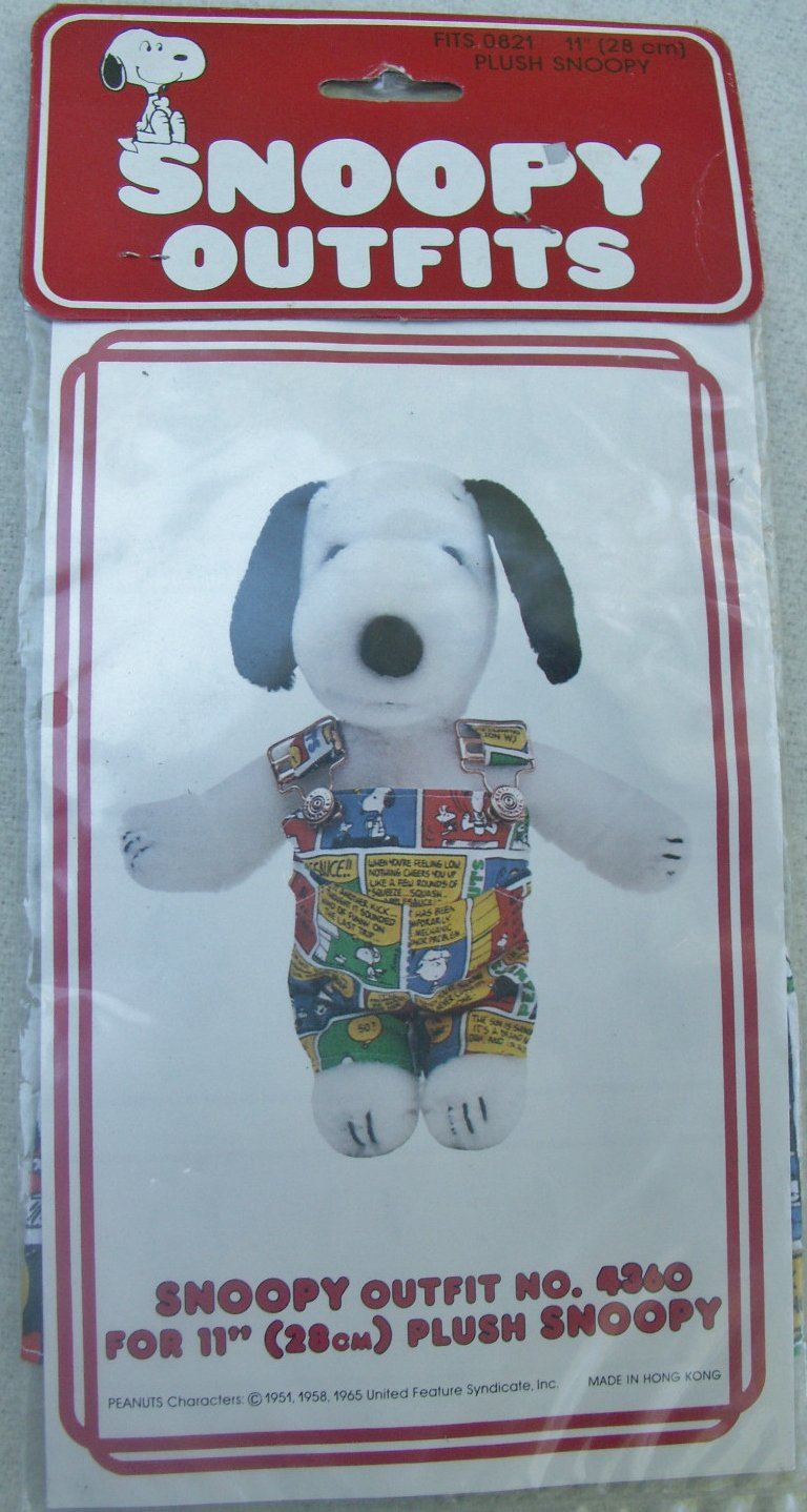 """Rare 。Peanuts Snoopy 's Wardrobeヴィンテージfor 11 """" Plush – スヌーピーOutfit Comic Strip Overalls   B00F7MUR0O"""
