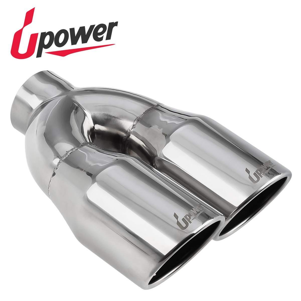 Upower Car Truck Dual 2.5'' to 3.5'' Exhaust Tips 10'' Long Stainless Steel Polished Angle Cut Tailpipe for 2.50'' Tubing