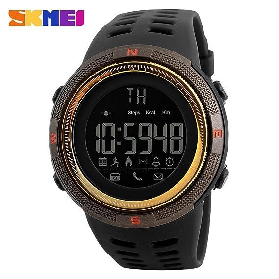 SKMEI Bluetooth Reloj Inteligente 1250 podómetro recordatorio Reloj Deportivo a Prueba de Agua: Amazon.es: Relojes