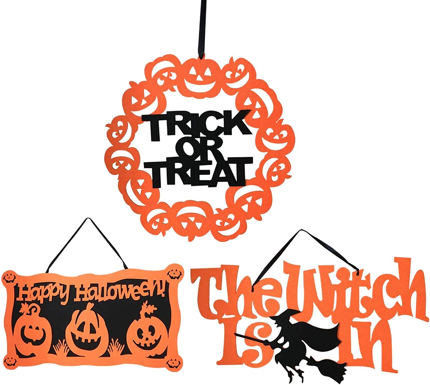 Halloween Signs for Home Office Door Wall Decorations - Happy Halloween & Trick Or Treat Sign Decor - Halloween Hanging Decorations Outdoor Indoor, Set of 3