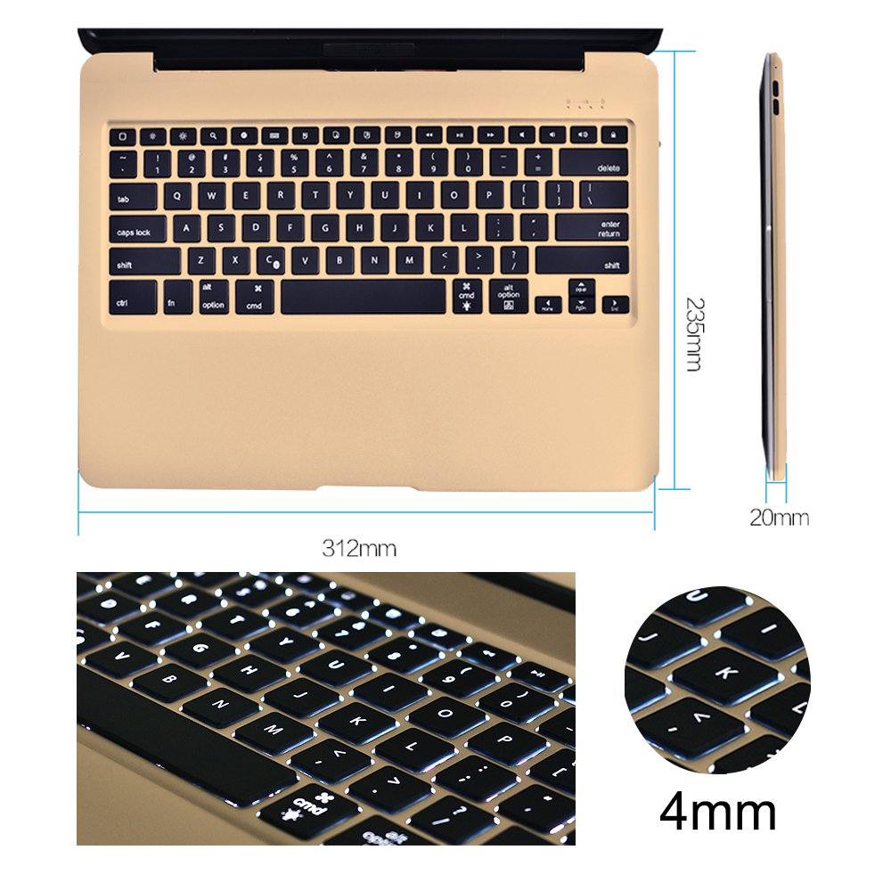 MOSTOP iPad Pro 12.9-inch Keyboard Bluetooth 7-color LED Backlit Slim Aluminum Wireless Keypad with Built-in 5600mAh Power Bank for iPad Pro 12.9'' (Gold) by MOSTOP (Image #4)