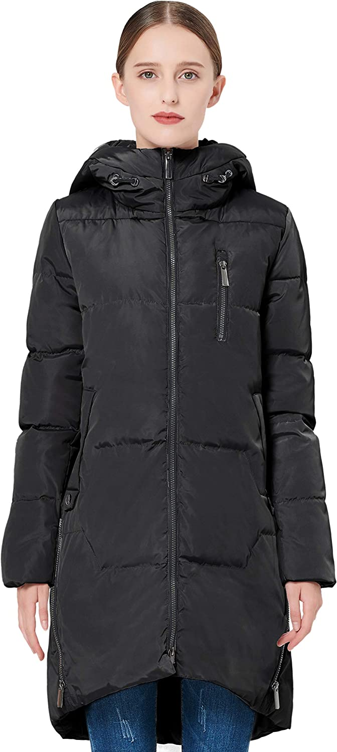 Orolay Women's Stylish Down Jacket Hooded Winter Coat Two-Way Zipper Puffer Jacket: Clothing