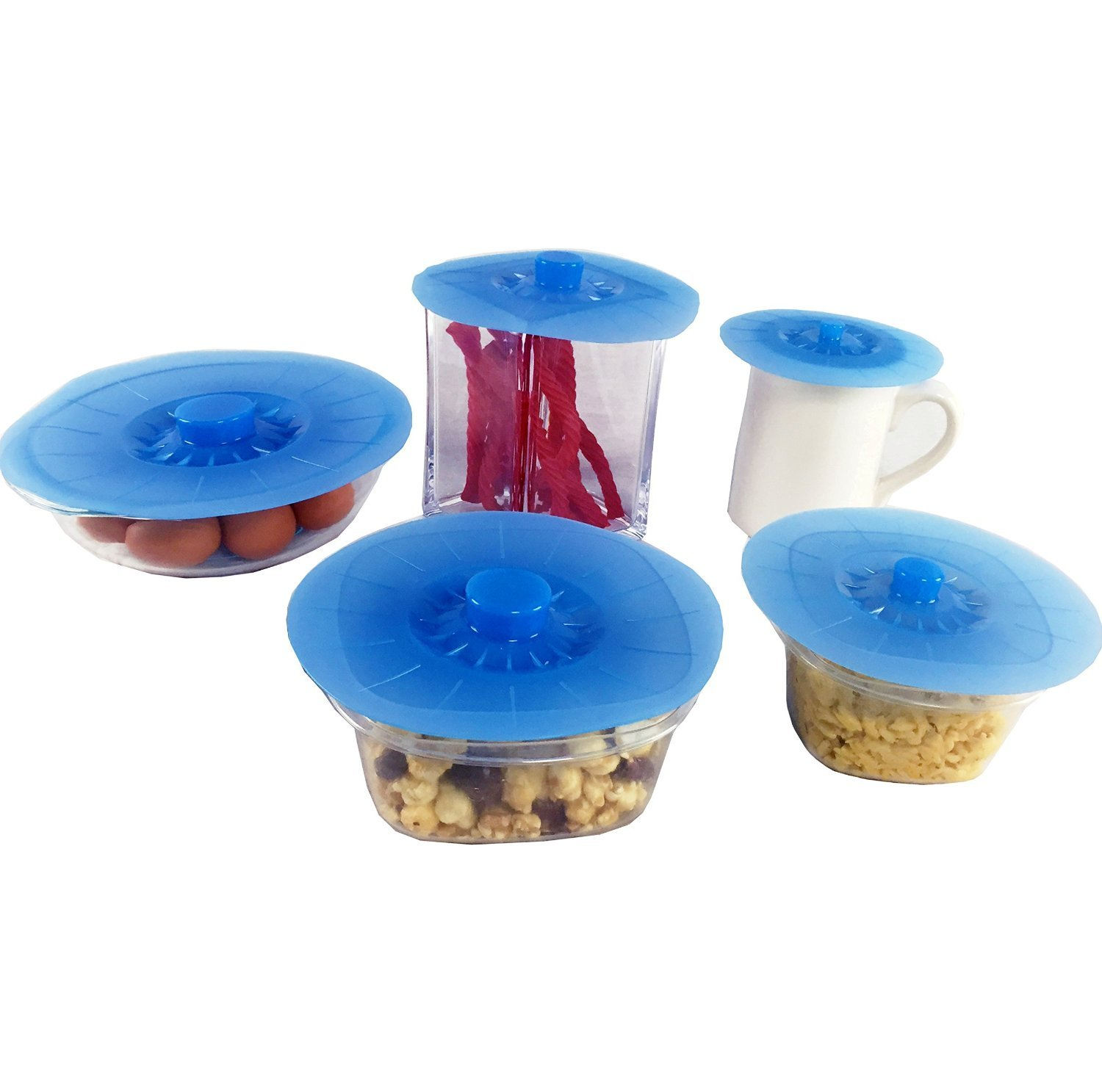 Dr. Joe Silicone Silicon Lids Covers Perfect Suction Seal for Kitchen Home Utensils 5-Piece Set