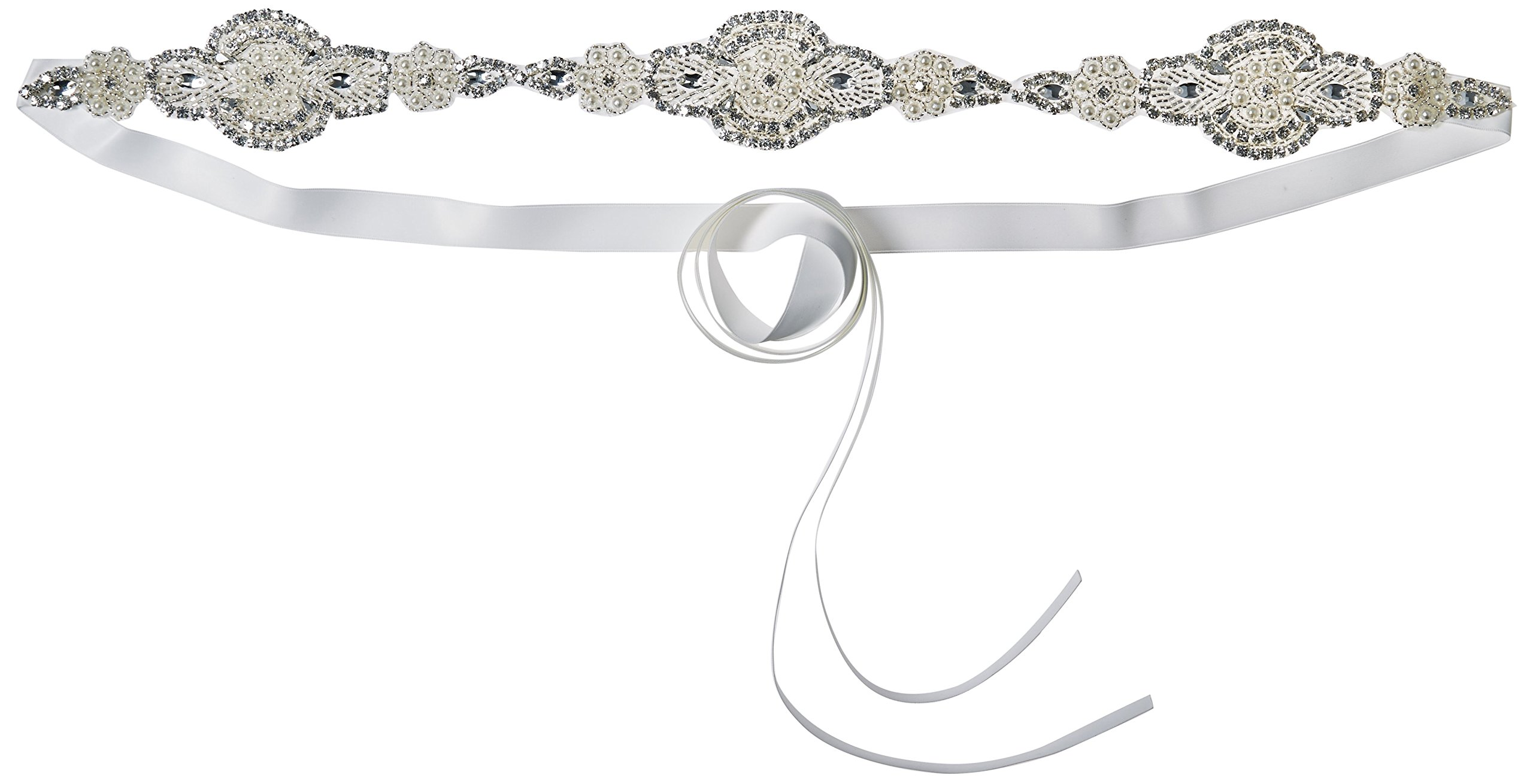 J-Picone Women's Bolton Hard Rock Crystal Bridal Belt with Crystal Appliques, Ivory, One Size
