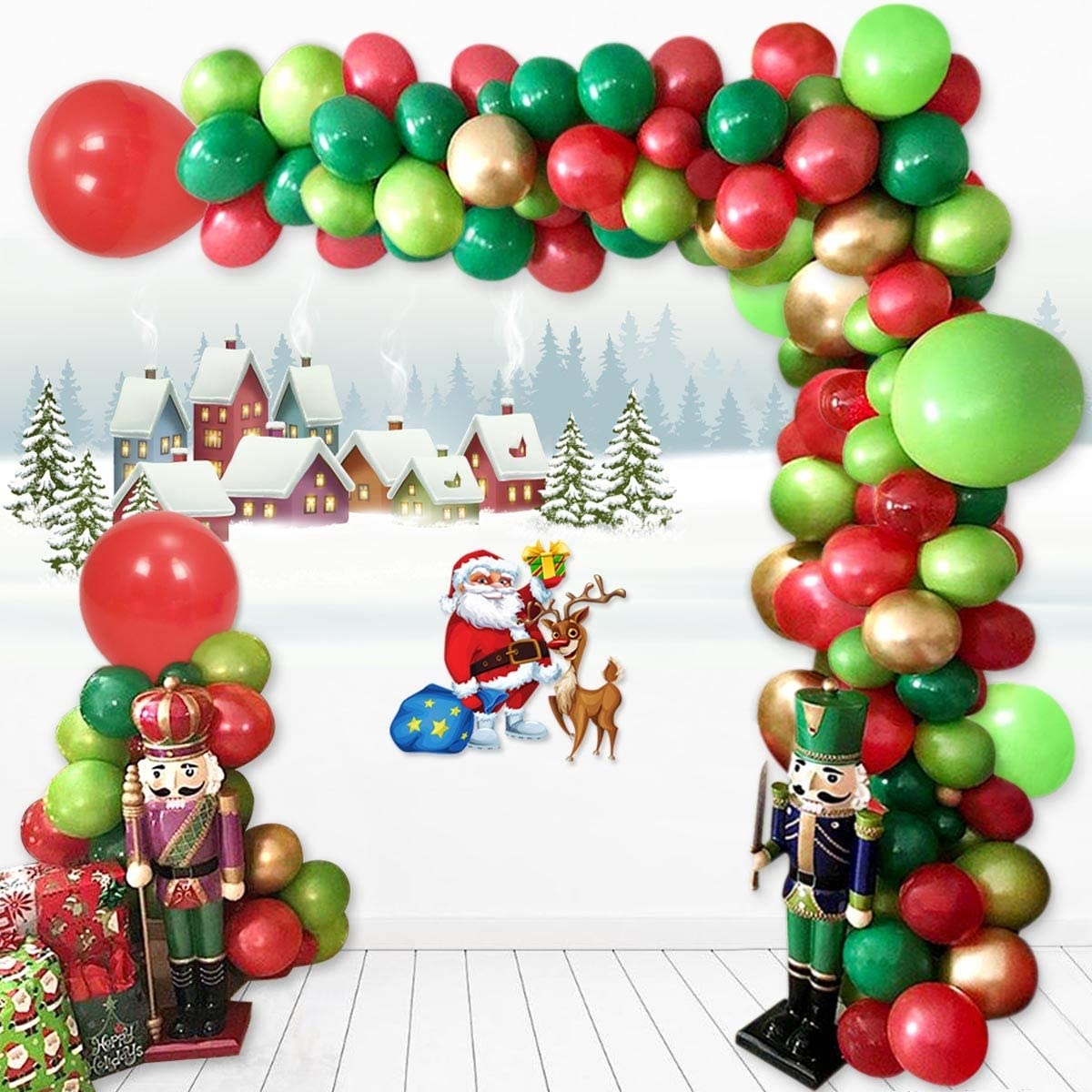 """24 PACK OF 10\ XMAS BALLOONS CHRISTMAS DECORATION RED GREEN WHITE/"""""""