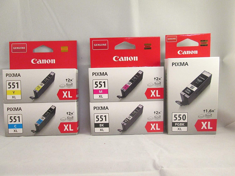 Canon PG-550XL+CLI-551XL 5 Cartuchos de tinta original BK/C/M/Y ...