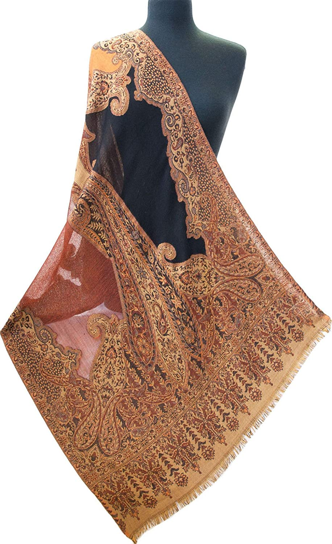 Black, orange, Turmeric Shawl. Cutwork Jamavar 80  x 28  Paisley Pashmina Stole