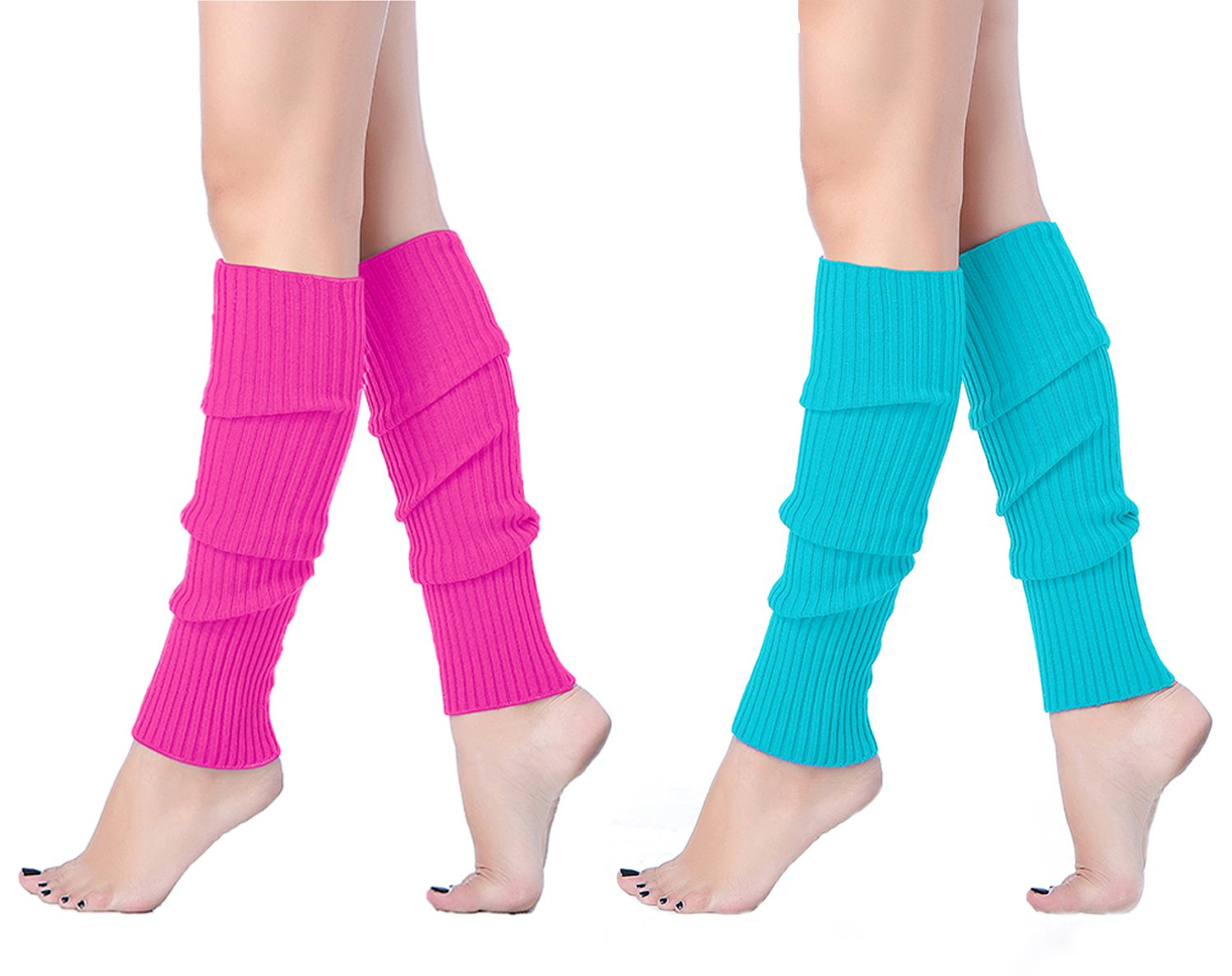 V28 Women Juniors 80s Eighty's Ribbed Leg Warmers for Party Sports (one size, 2 pack(Rose+ Lakeblue))