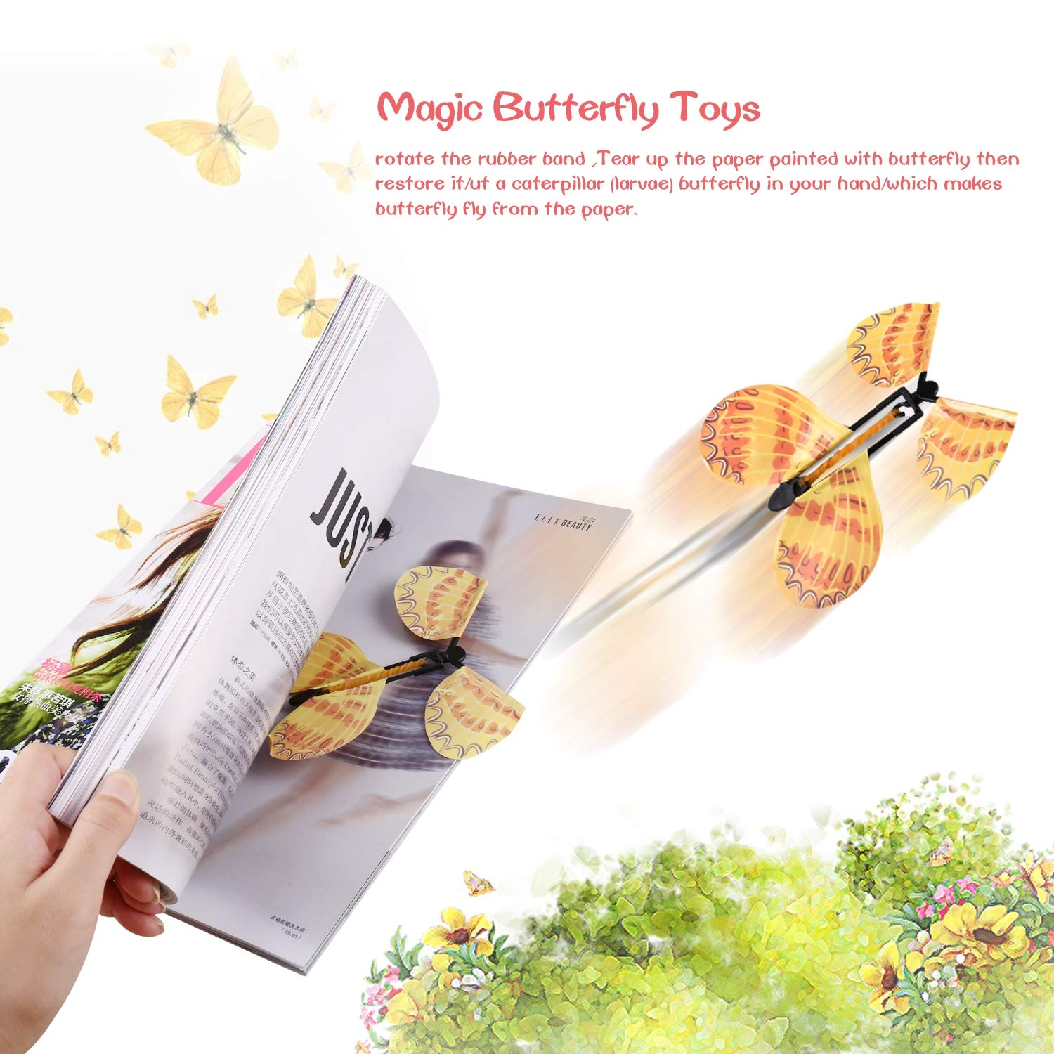 FairytaleMM Flying Butterfly Classic Wind Up Swallow Tail Butterfly - Close Up Magic Set Juguete Divertido para una Boda romá ntica