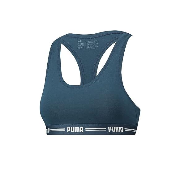 Puma Sportswear Iconic Racer Back Sports Bra Dark Denim S: Amazon ...