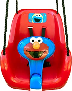 Sesame Street Elmo Toddler Swing, Inspire Outdoor Play, Encourage Imaginative Fun! Durable High Back Bucket Swing Seats Toddler Safely & Comfortably, Perfect Backyard Playground Toy