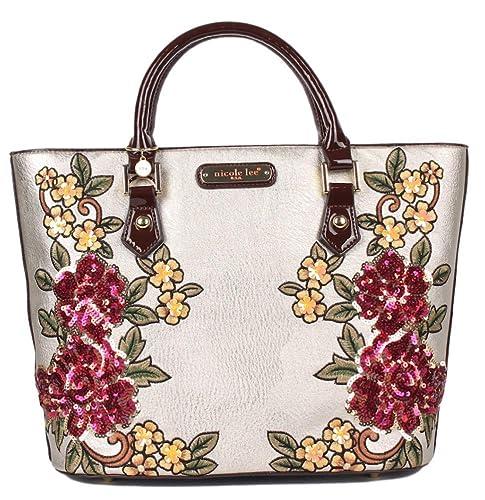 Nicole Lee Structured Sequin Floral Handbag Shopper  Amazon.ca  Shoes    Handbags fd3588efe5c3d