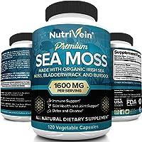 Nutrivein Organic Sea Moss 1600mg Plus Bladderwrack & Burdock - 120 Capsules - Prebiotic Super Food Boosts The Immune…